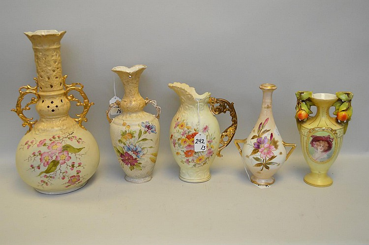 Five German & Austrian Porcelain Vessels - Includes: Royal Bonn handled vase with birds & florals 9 1/4
