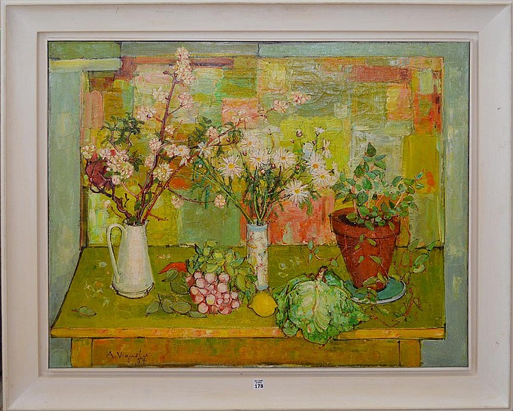Andre Vignoles (French, B. 1920) outdoor still life, oil on canvas, 32 x 39-1/2 inches