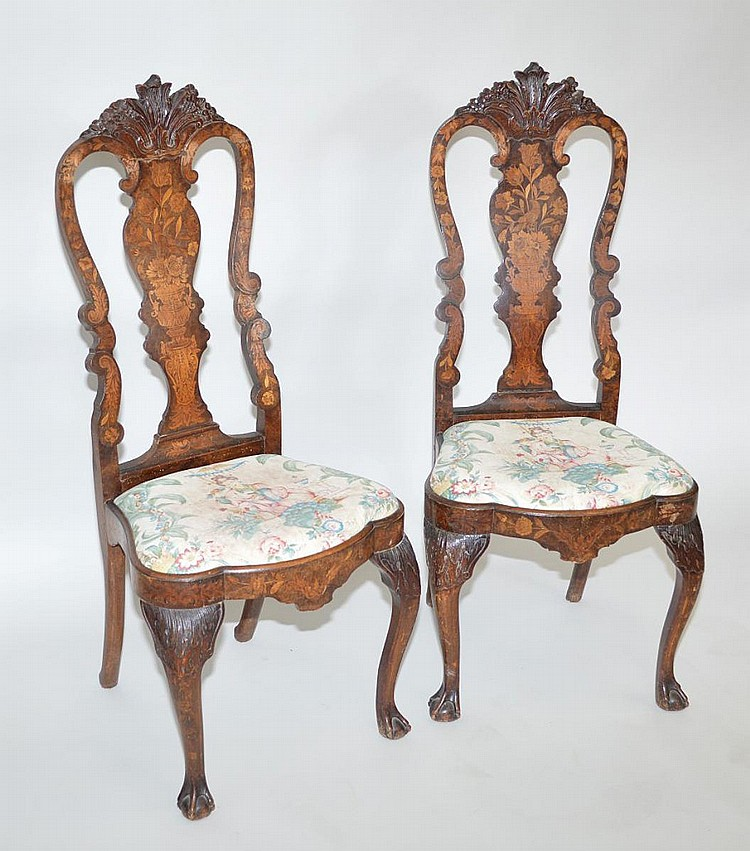 Pair inlaid Dutch marquetry 18th c. side chairs (repair to chair and one needs restoring)