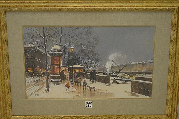Paul Renard (French, 1941-1997) Gouache, Paris winter street scene, 10-1/2 x 18 inches