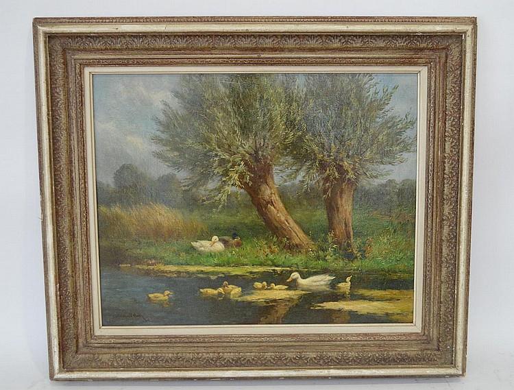 Constant Artz (1870-1951 Dutch) Family of Ducks, oil on canvas, 16 x 20 inches