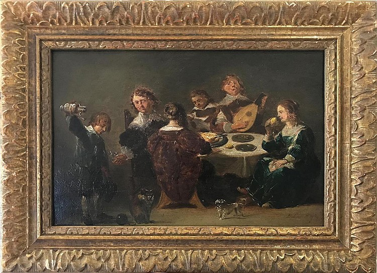 David Teniers the Younger (FLEMISH, 1610–1690) oil on panel, Festive Dinner, 10 x 16 inches