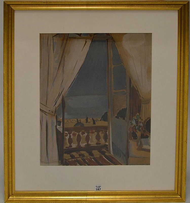 """HENRI MATISSE, French 1869-1954 , framed lithographic print of """"Looking Out from Balcony to the Ocean"""" 22"""" x 16"""", signed in the print and dated 1910"""