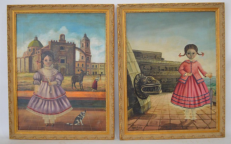2 Paintings by: Agapito Labios (MEXICAN, 1898–1996) oil on canvas, Young Girls, canvas size 24 x 18 inches