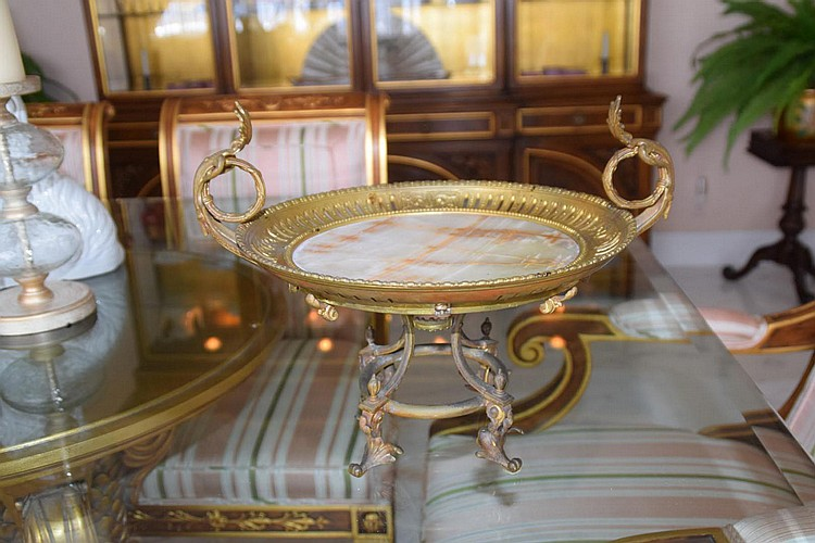 """19th Century Gilt Bronze & Onyx Tazza with Reticulated Rim. Condition: Good with no noticeable damage and very minor normal wear. Dimensions: 10"""" H x 13 1/2"""" diameter."""