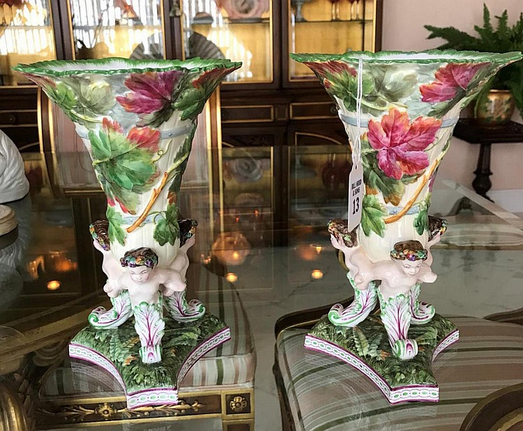 """Pair of Copelands Spode Porcelain Vases - Triangular Bases raising to figural supports. Again rises and """"trumpets out"""" to folate design motif. Condition: Both have small hairline cracks along top rim. Dimensions: 8 1/4"""" H."""