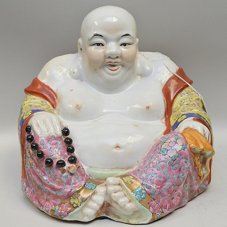 """Chinese Porcelain Ho Tai Buddha Hand-painted Polychrome Condition: Good with only minor normal wear. Dimensions: 10"""" H x 11"""" W x 12"""" D."""