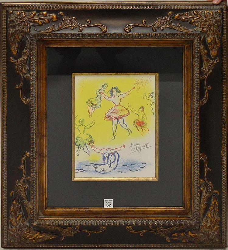 After Marc Chagall (FRENCH/RUSSIAN, 1887–1985) Sketch for Giselle with authentic hand signature in pencil, with COA, image size 12 x 9 inches