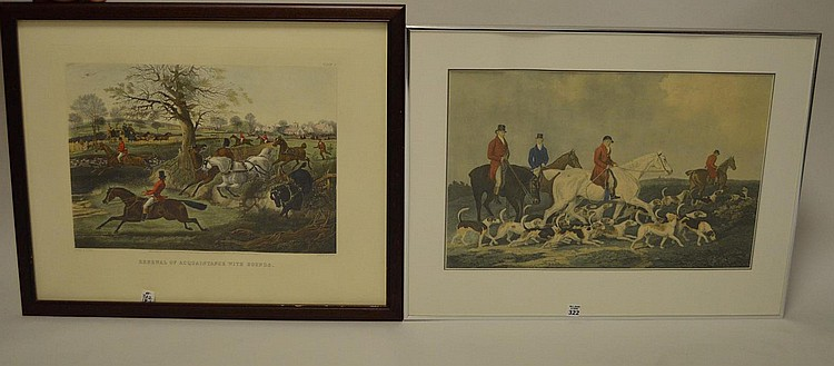 2 old Hunt scene Prints: Renewal of acquaintance with hounds- image 14 x 20 inches, other Hunt scene w/ lots of hound dogs is 15 x 23 sight