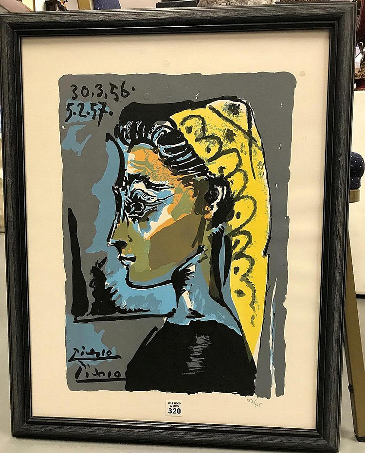 Pablo Picasso Print, numbered edition 138/375, Lithograph Portrait, overall framed size 27-1/4 x 21-1/4 inches