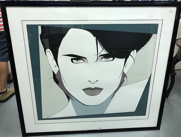 2 Patrick Nagel (American, 1945-1984) Lithographs, Portrait- 39/90, 30 x 36 images size and girl w/ mirrored sunglasses, 1983, 19-1/2 x 33 inches, both hand signed by artist