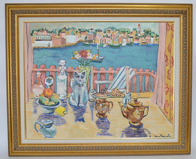 "MAX SWARTZ, oil painting on board of ""Cat and Tea Set with Harbor View"" 24"" x 30"", signed lower right. In a decorative gold frame"