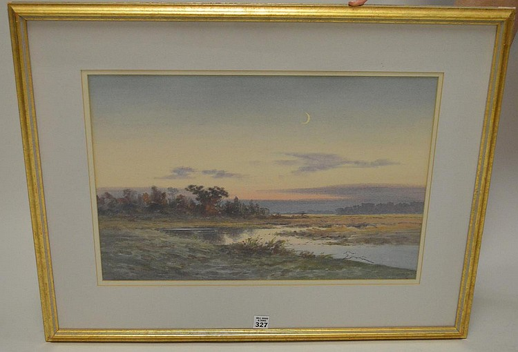 """CAPE COD MARSH, watercolor painting 14"""" x 21"""", signed lower right, framed"""