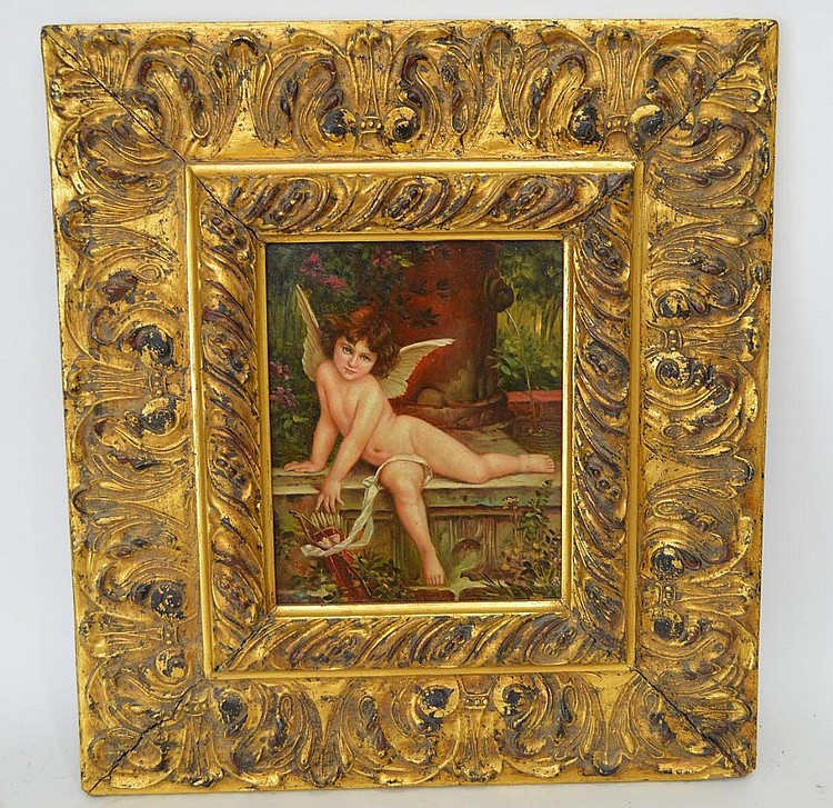 "Antique oil painting of Cupid on wood panel 10"" x 8"" in a highly decorative gold frame"