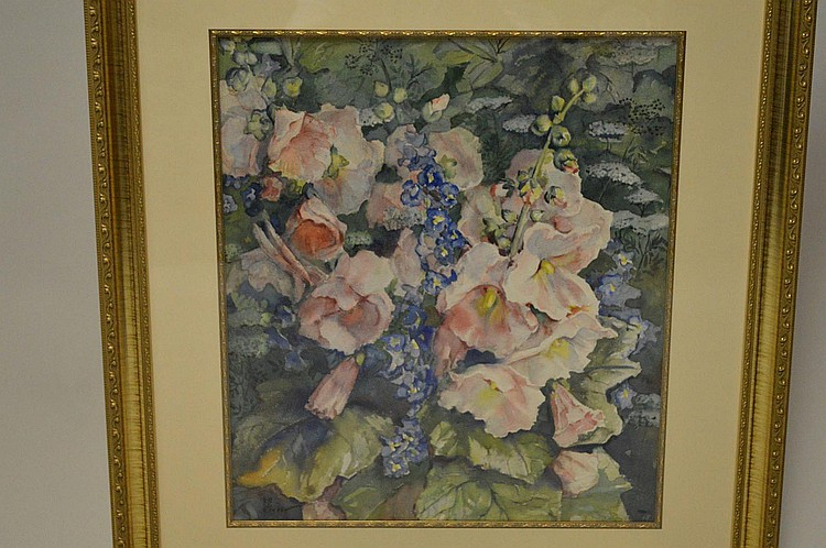 """GREER watercolor painting of """"Hollyhock Flowers in a Garden"""" 21"""" x 18 ½"""", signed lower left, in a decorative gold frame."""