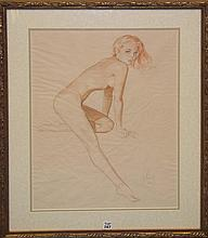 Alberto Vargas  (American 1896 - 1982) Sketch Drawing on paper, Esquire pin-up girl cover- rendering for August 1945, Nude, signed a. Varga lower right and ESQ, 17-1/2 x 24 inches
