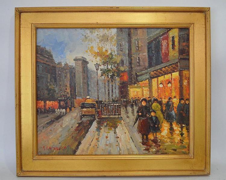 Rene Rambert (French, 1901-1991) oil on board, Paris Street Scene, 20 x 24 inches