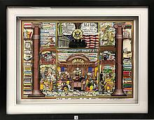 Charles Fazzino (AMERICAN, 1955)  3-D Art , LAW AND DISORDER IN THE COURT! , image size 23 x 34 inches, overall size 34 x 44, hand signed and numbered 19/150.