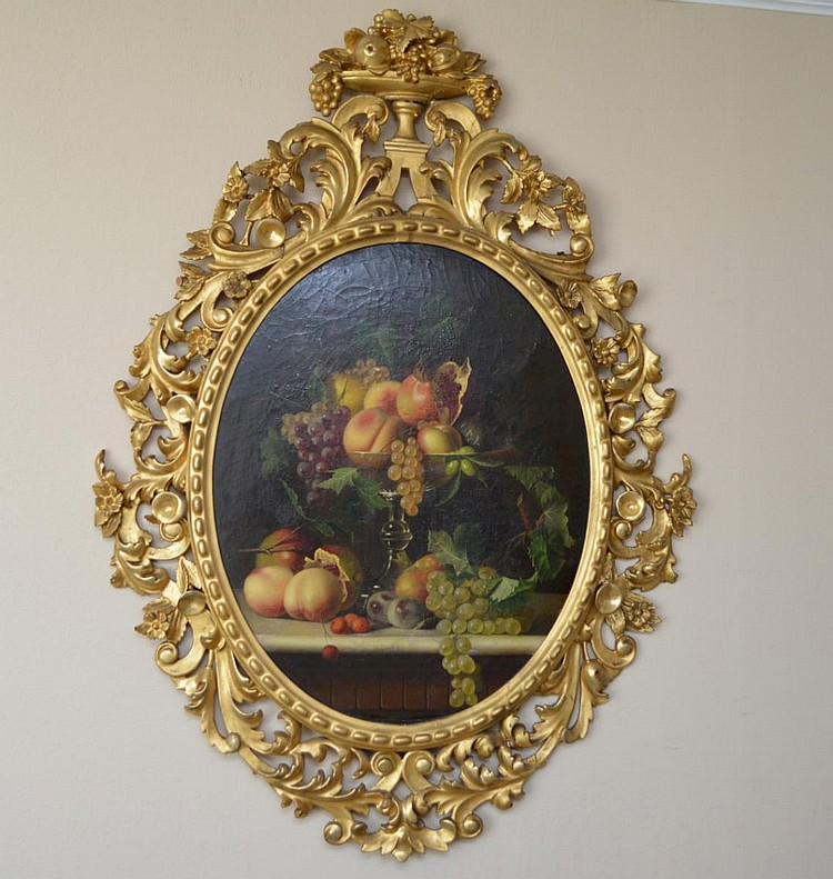 19th Century Still Life Fruit after Severin Roesen, oval oil on canvas, in fancy gilded carved Italian frame, 26 x 21 inches