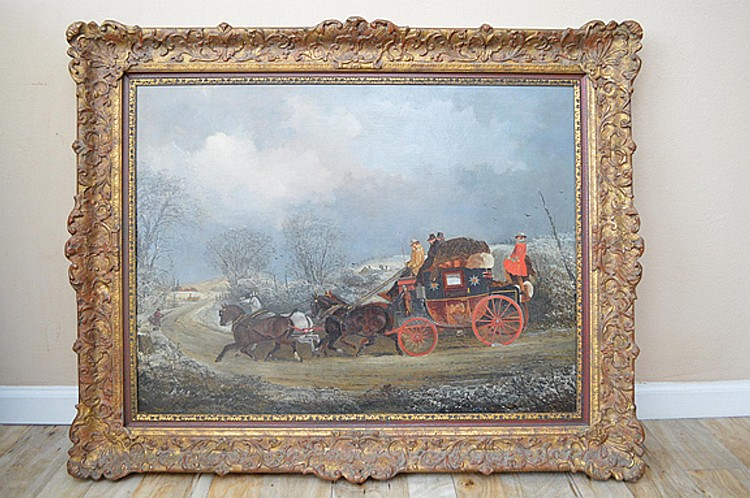 Antique English coaching scene After Henderson. Oil on canvas, 36 X 28 inches