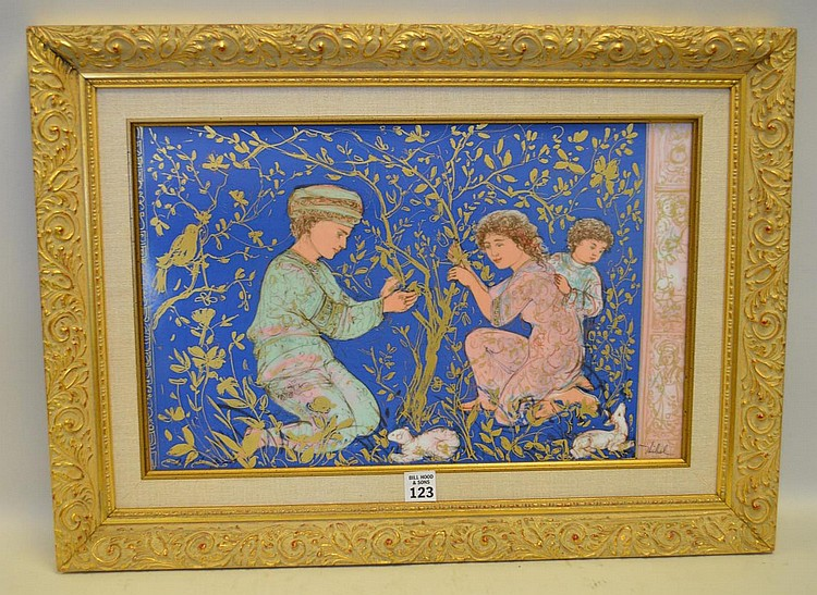 """Edna Hibel Framed Porcelain Plaque with three Children and two lambs in a gilded landscape. Condition: Good, with no noticeable damage. Dimensions: Plaque 12"""" x 18"""" site, overall framed 17"""" x 23""""."""