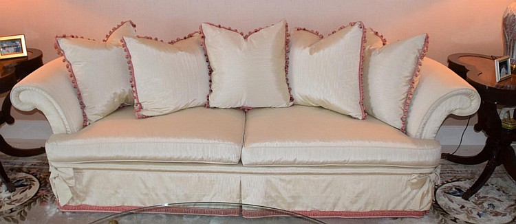 """Louis Mittman Sofa - Condition: Good, with normal minor wear. Dimensions: 24"""" H x 93"""" W x 32"""" D."""