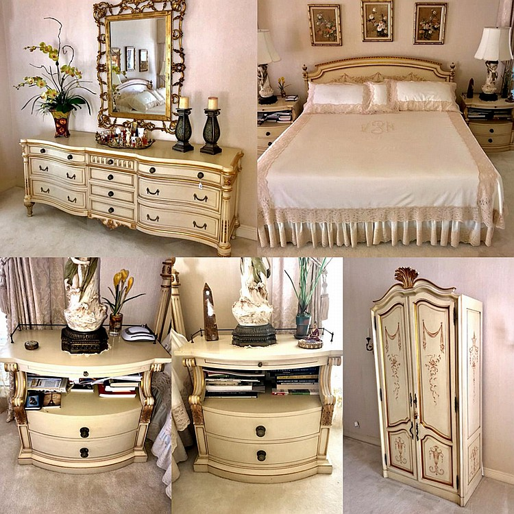 """5 Piece Karges Custom Georgian Bedroom Suite. Includes: Dresser with Gilt Wood (Style # 700-X), 10 drawers, 4 small in middle, four larger on each side topped with a thinner drawer, 33"""" H x 82"""" W x 23"""" D; Armoire """"Louis XVI"""" with Pediment"""