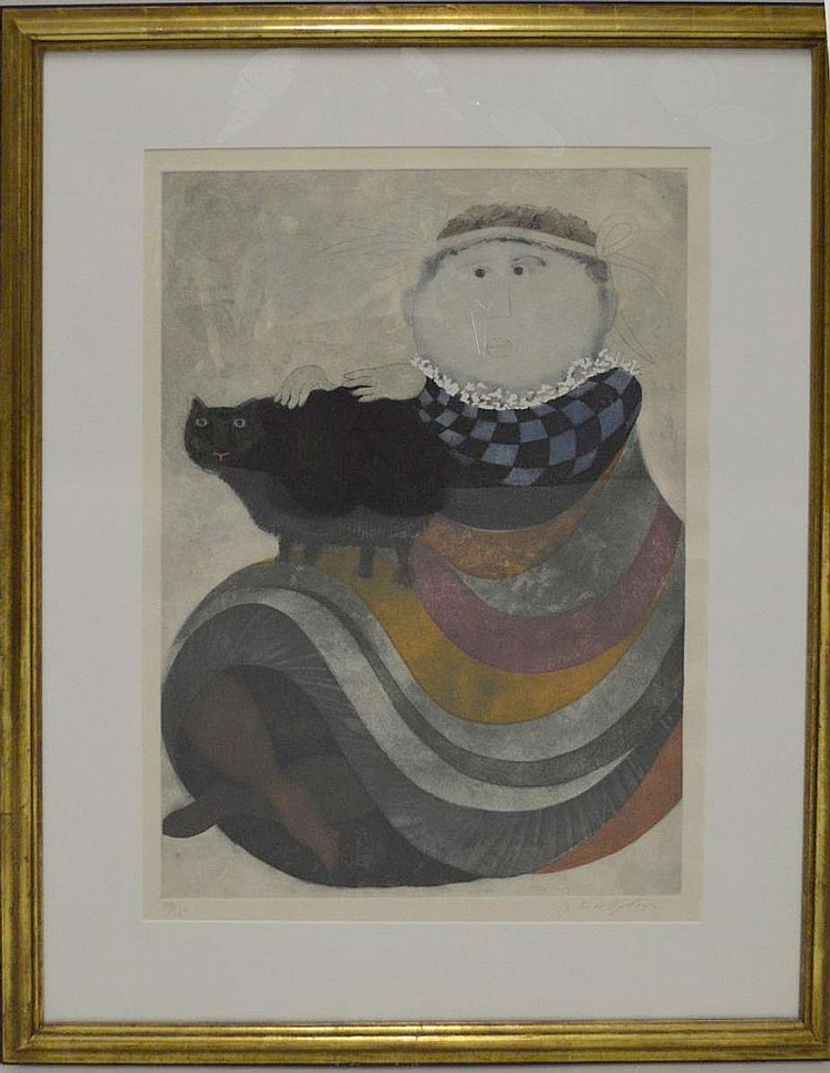 Graciela Rodo Boulanger (born 1935) Lithograph, Girl and a Cat, images size 31 x 23 inches