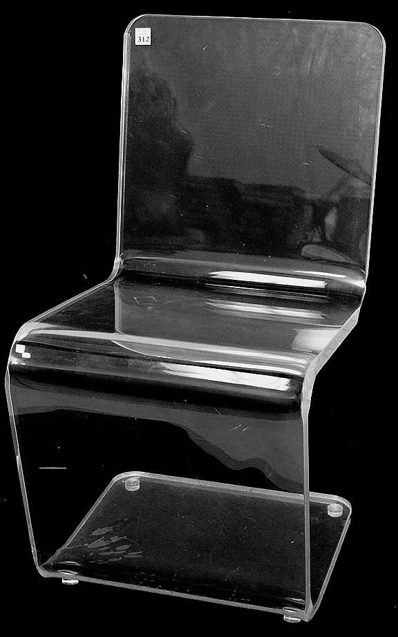 Lucite Z form side/desk chair, 32