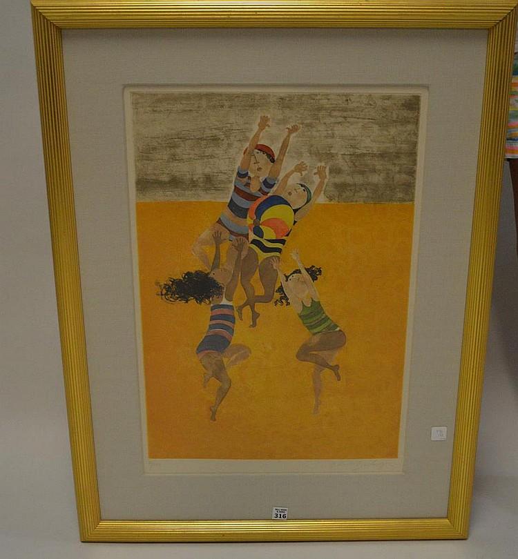 Graciela Rodo Boulanger (born 1935) Lithograph, 4 kids, image size 24 x 16-1/2 inches, 86/150