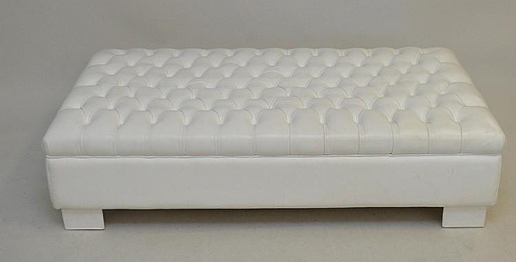 White tufted leather ottoman, 15