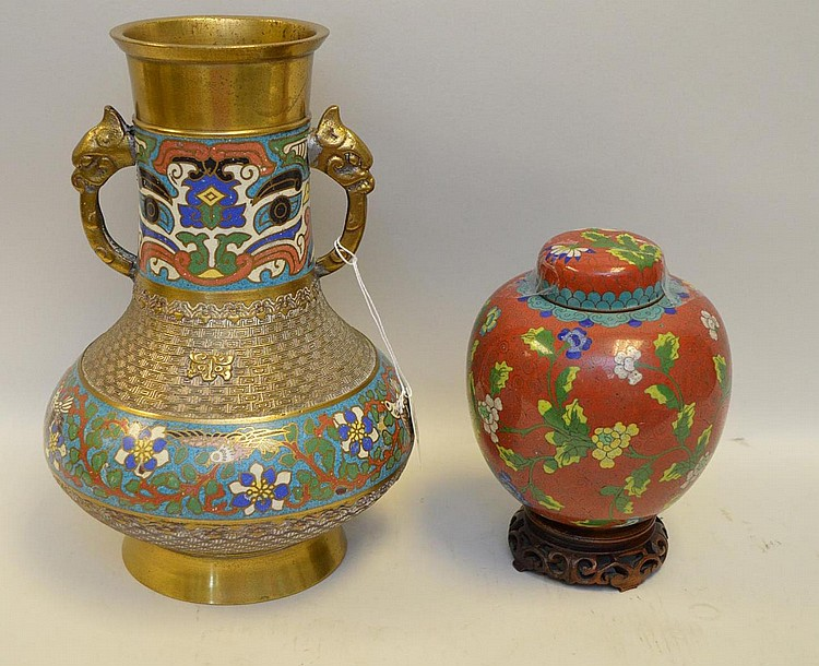 Champlevé urn with 2 elephant handles (12