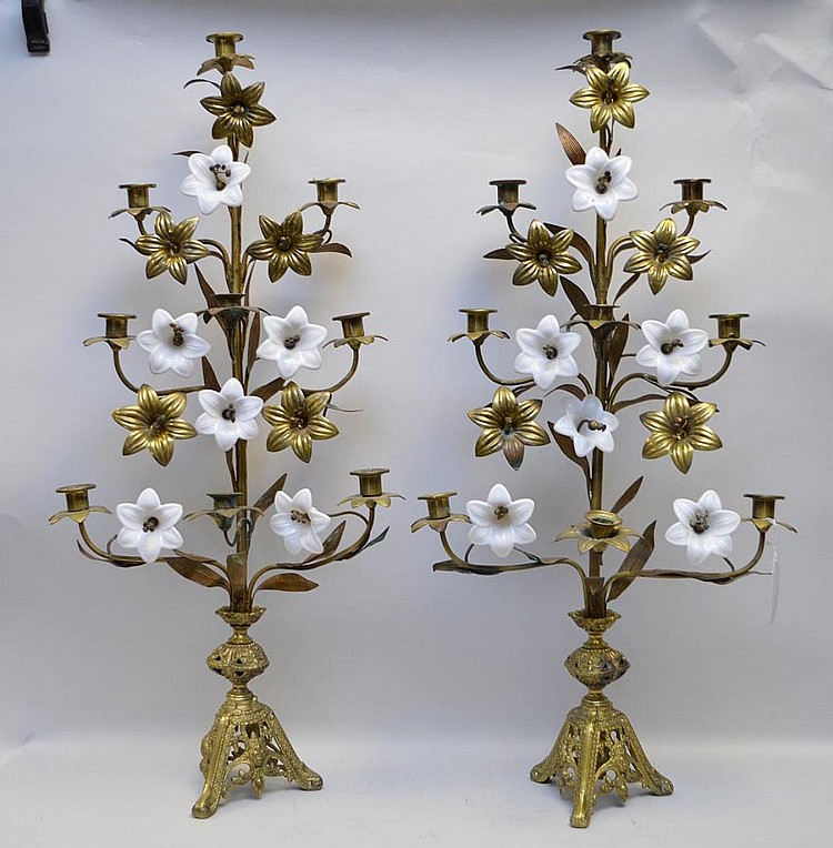 Pair 9 lite candelabra, gilt metal and opaline flowers in a tree form, 33 1/2