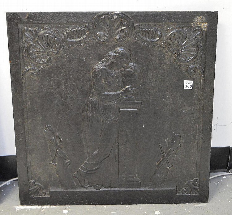 19th Century Cast Iron Fireback with classical maiden scene. Condition: good for it's age with minor normal wear. 24