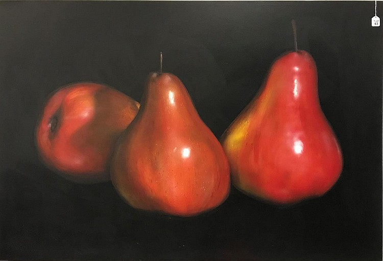 Tom Seghi (AMERICAN, 1942) oil on canvas, 3 PEARS, original receipt from 92 4k, signed and dated '92 on verso, 48 x 60 inches