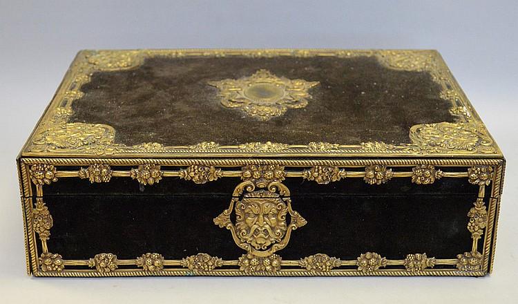Velvet exterior letter box with gilt metal masks at corners, Box measurements: 14