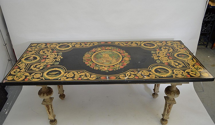 Scagliola Paneled Slate Top Table On 18th Century base with carved & tapered legs, 33