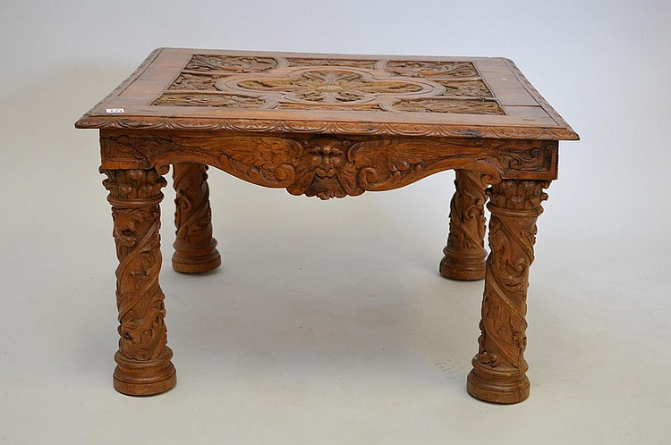 Carved walnut 19th c. table with carved masks on frieze, 18
