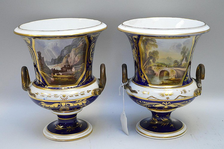 Pair Early Bloor Derby Porcelain Vases. English 19th Century. One vase with