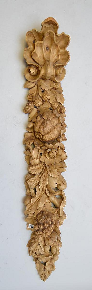 Elaborately carved fruit, pods & seed panel, 54