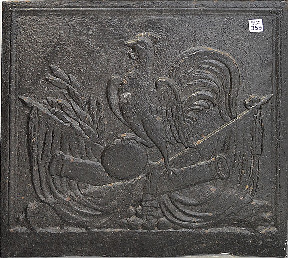 19th Century Cast Iron Fireback centered by a rooster scene. Condition: good for it's age with minor normal wear. 21 1/2
