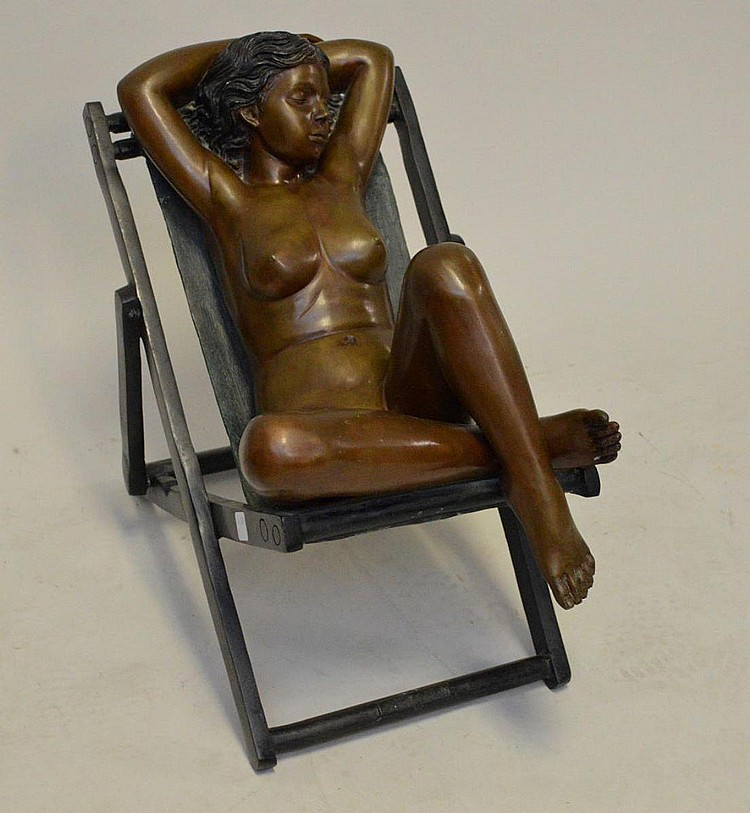Leonardo Rossi Bronze reclining nude young girl in beach chair, signed on base, 20h x 26 long x 13 wide