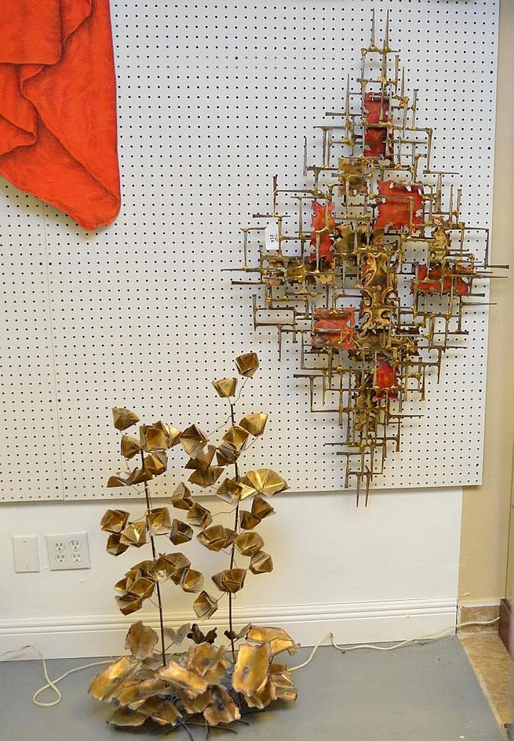 2 pieces sold together: Modern wall sculpture , iron and copper nail motif , 32 x 54 inches & rendition of Modern flowering tree in copper or brass, 38 x 25 singed friedle?