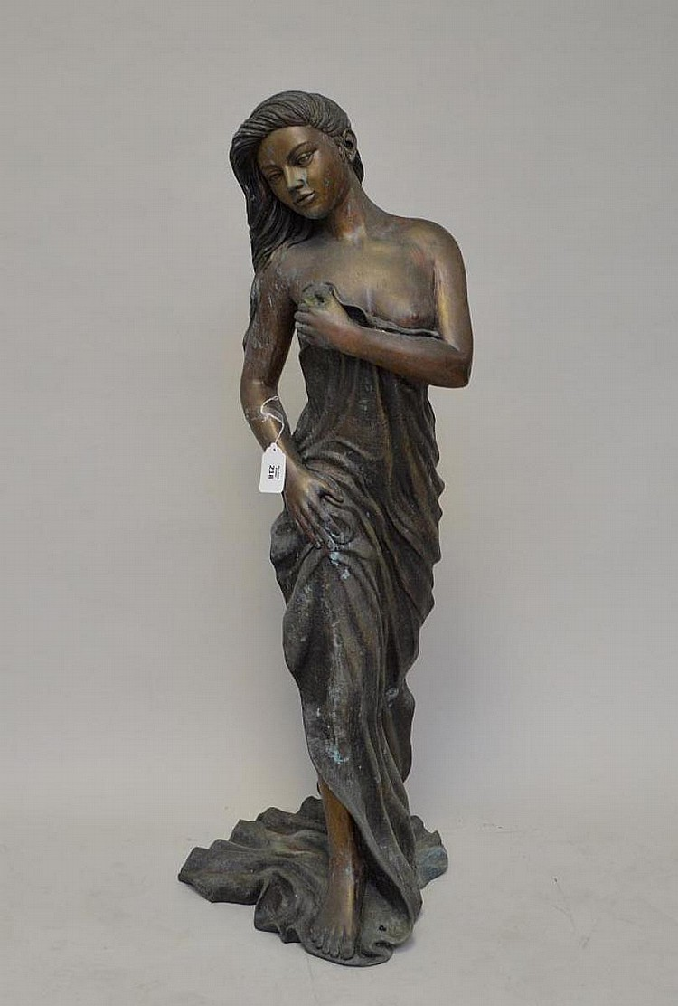 Standing Nude Bronze of young girl singed and dated 2007, 48 tall x 17 wide (inches) this was outdoor piece and has oxidized finish, sold w/ a stone pedestal also needs cleaning
