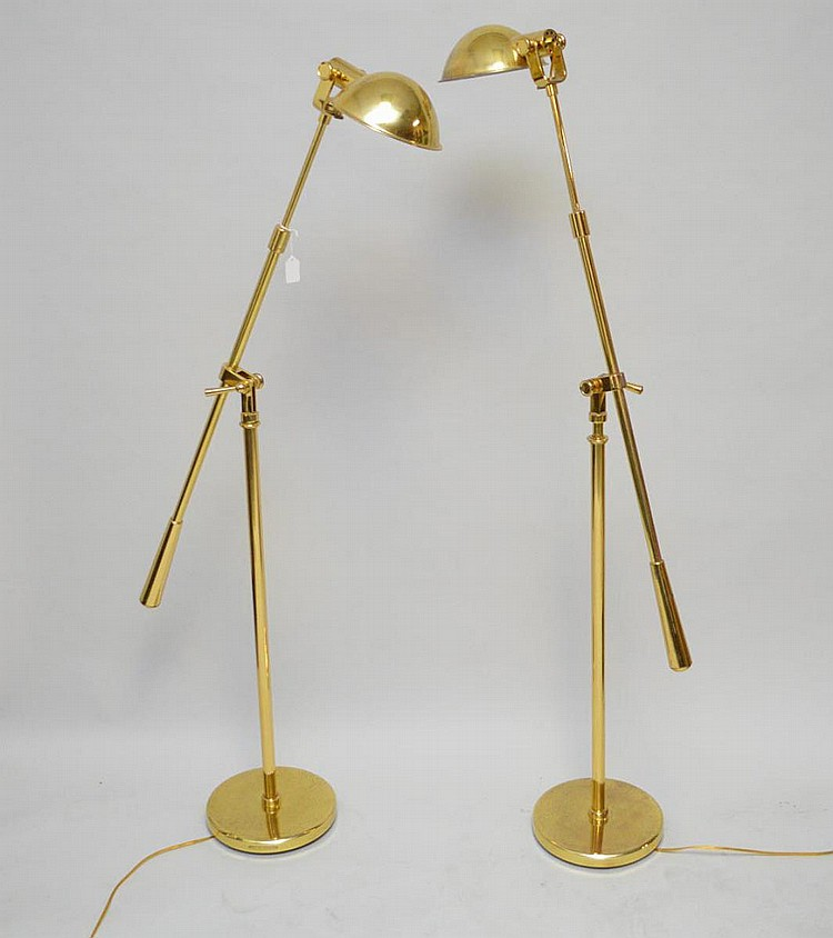 Pair brass Ralph Lauren equilibrium floor lamps, 5 feet tall