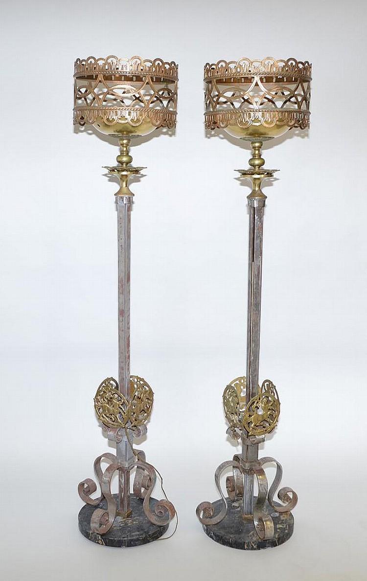 Pair iron and gilt metal torcheres, circa 1900, 65