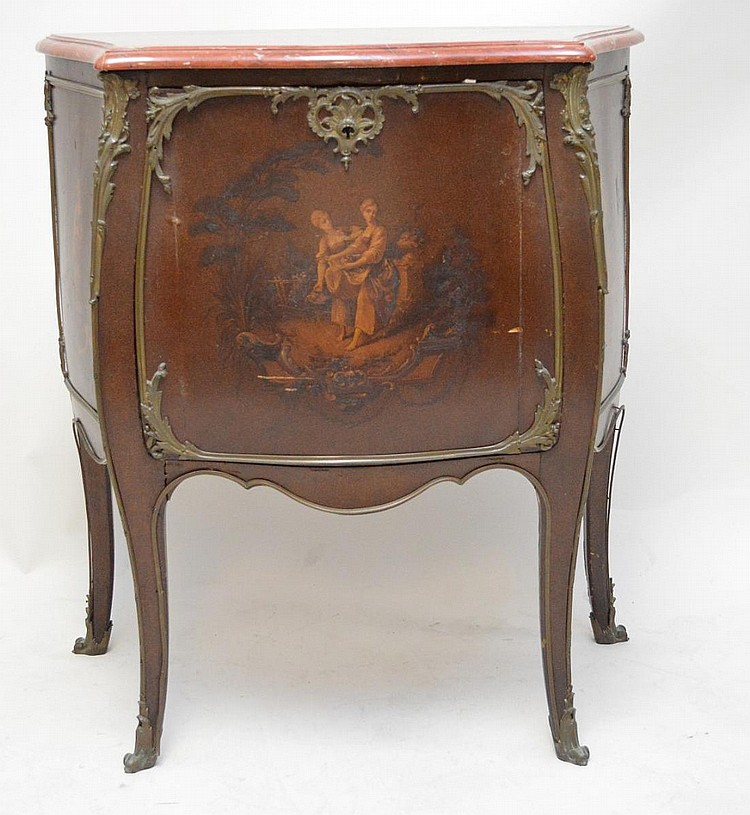 Music cabinet, circa 1900, Bombay form with painted cabinet door and side panels, metal mounts and red marble conforming top, 34