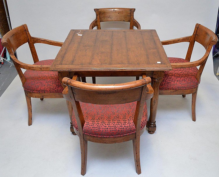 Fruitwood games table with 4 arm chairs, 29