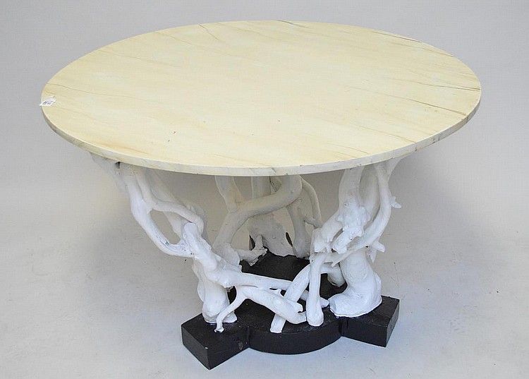 Driftwood painted table base with faux painted marble top, 42