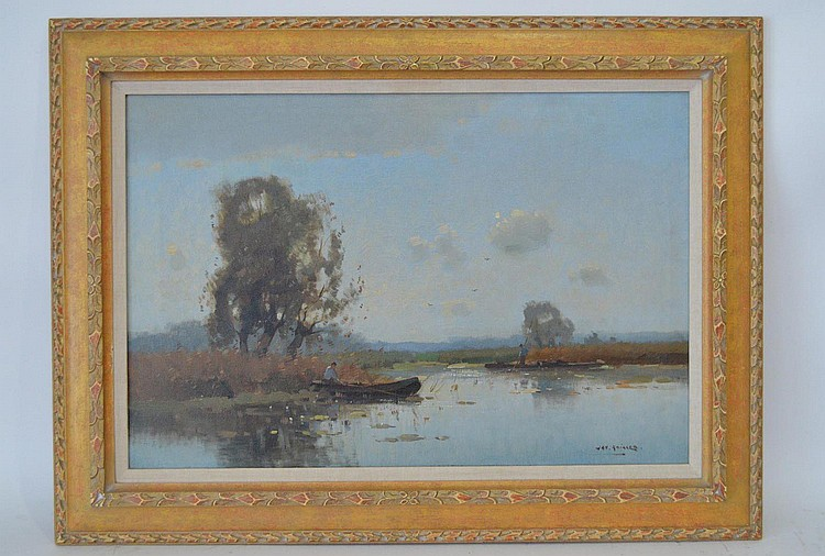 Jan. Knikker Jr.(Dutch, 1911-1990) Water Landscape, guys in rowboats fishing, 23-3/4 x 15-3/4 inches